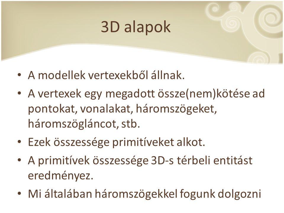 3D alapok A modellek vertexekből állnak.