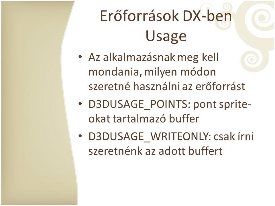 Erőforrások DX-ben Usage