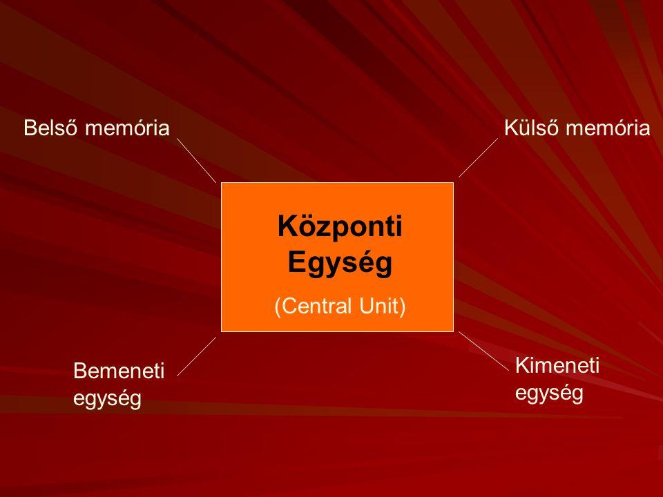Központi Egység Belső memória Külső memória (Central Unit)