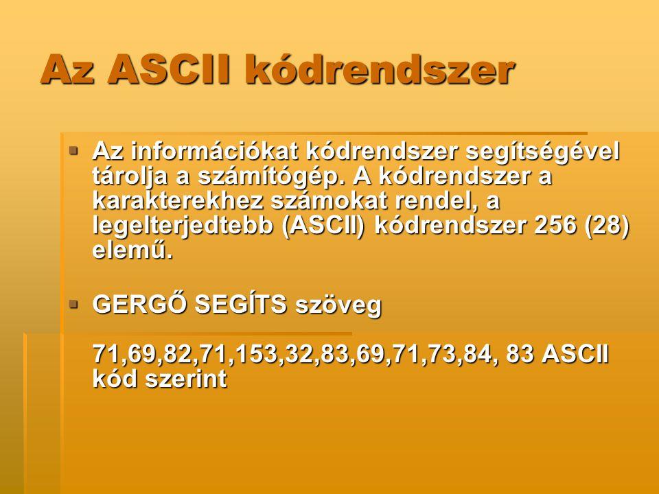 Az ASCII kódrendszer