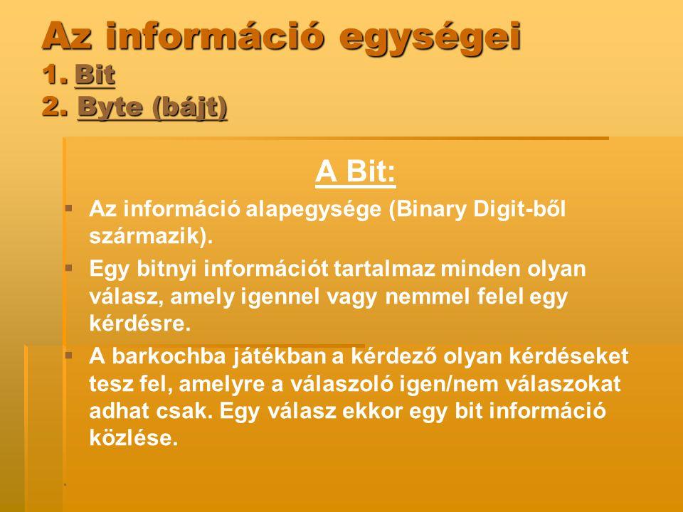 Az információ egységei 1. Bit 2. Byte (bájt)