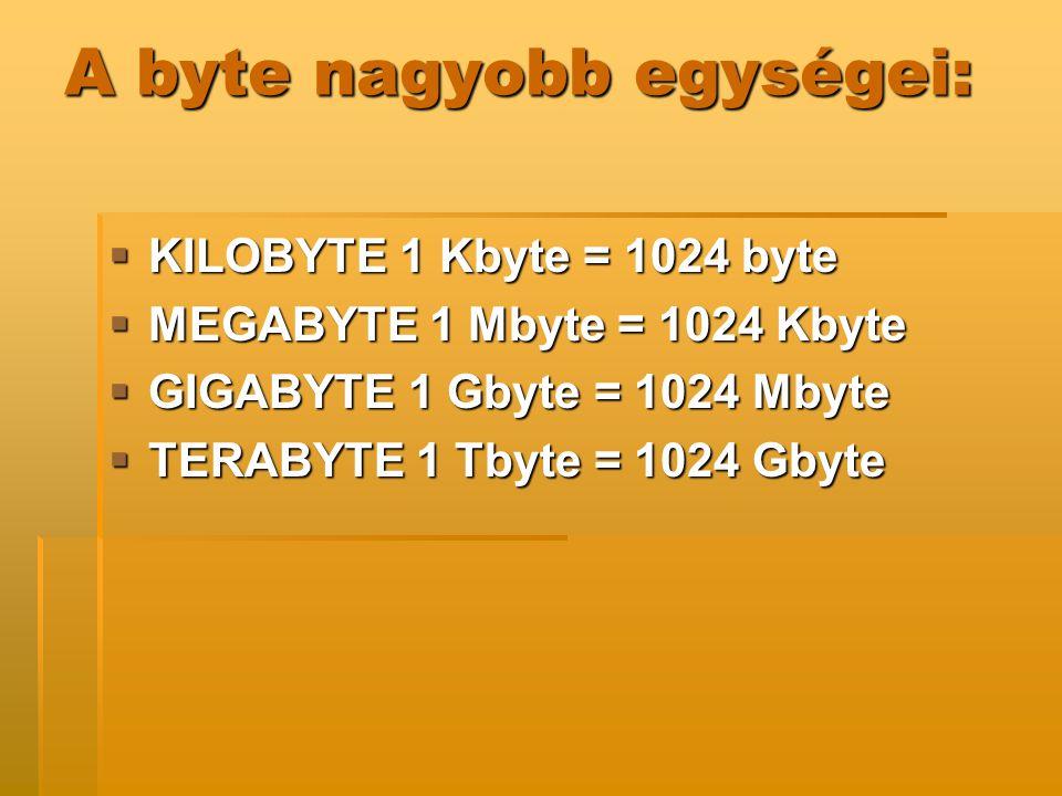 A byte nagyobb egységei: