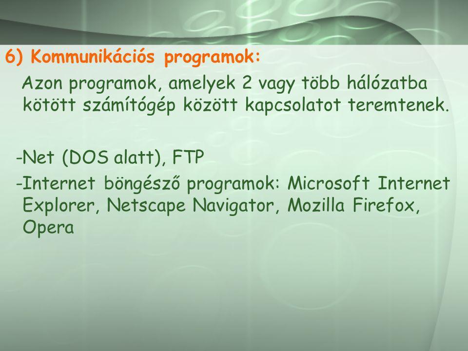 6) Kommunikációs programok: