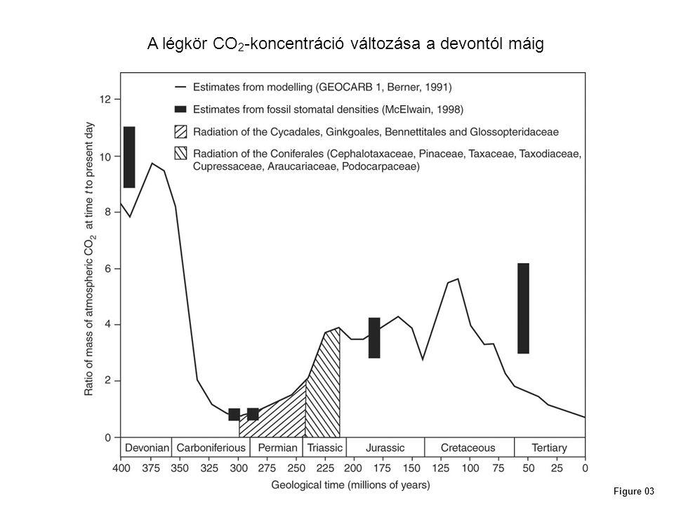 A légkör CO2-koncentráció változása a devontól máig