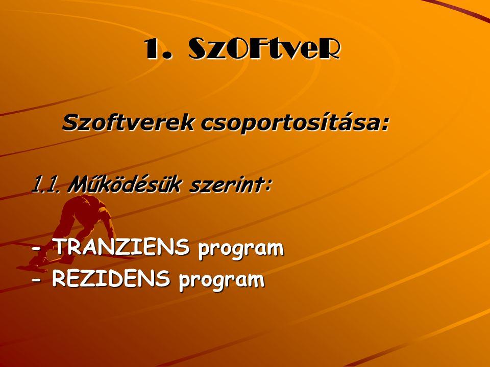 1. SzOFtveR Szoftverek csoportosítása: 1.1. Működésük szerint: