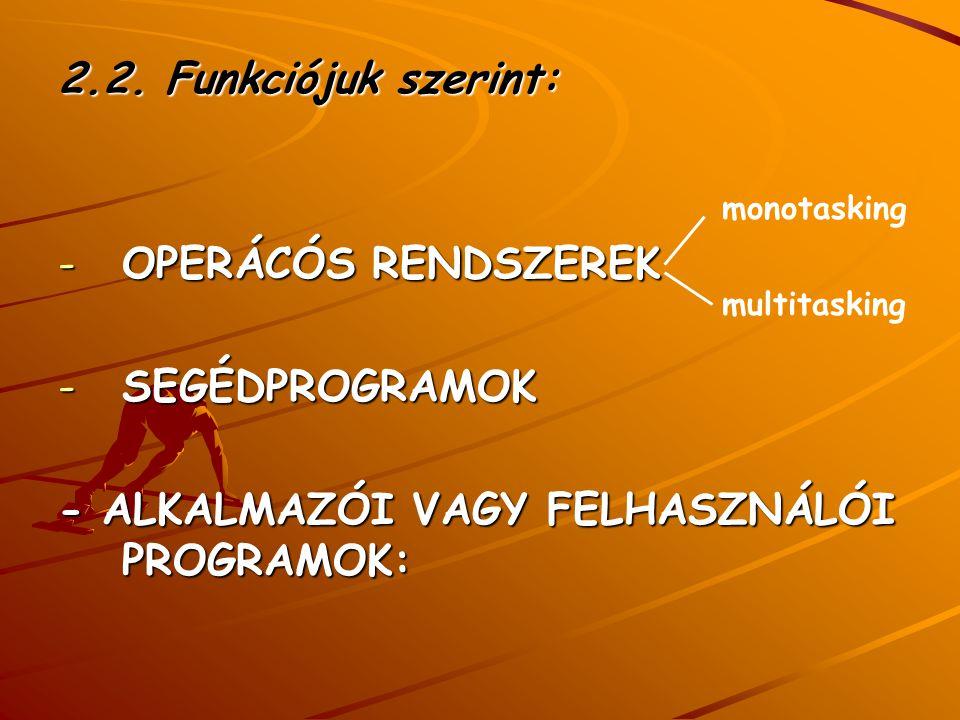 - ALKALMAZÓI VAGY FELHASZNÁLÓI PROGRAMOK: