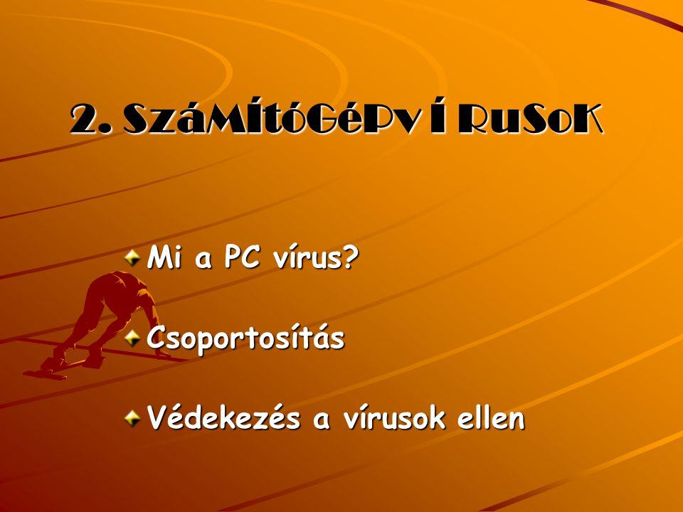 2. SzáMÍtóGéPv Í RuSoK Mi a PC vírus Csoportosítás