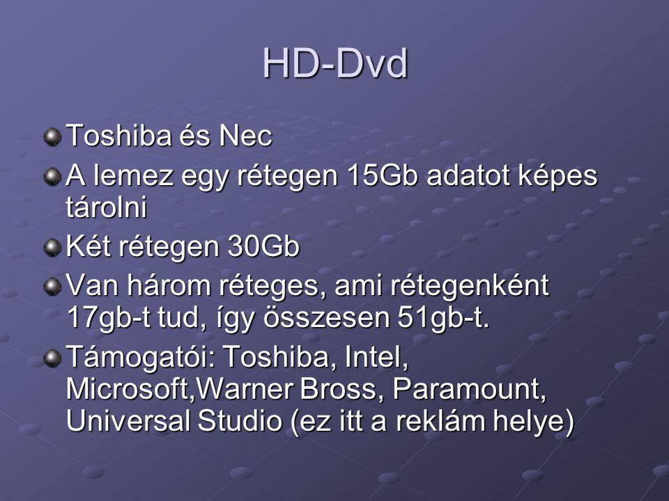 HD-Dvd Toshiba és Nec A lemez egy rétegen 15Gb adatot képes tárolni