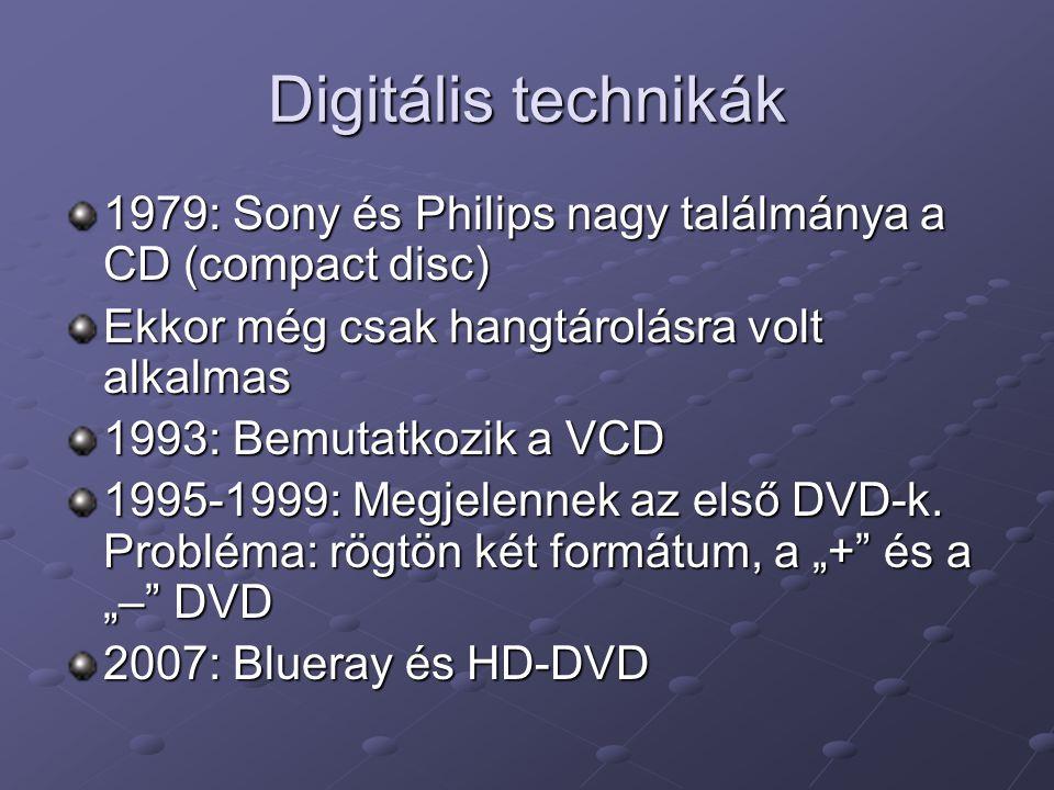 Digitális technikák 1979: Sony és Philips nagy találmánya a CD (compact disc) Ekkor még csak hangtárolásra volt alkalmas.