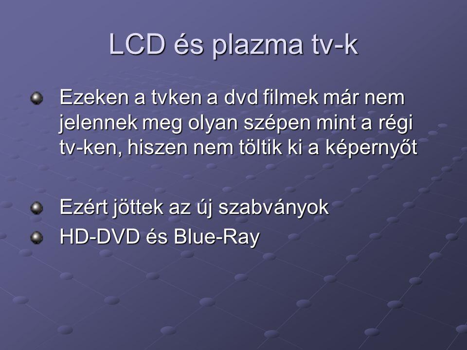 LCD és plazma tv-k Ezeken a tvken a dvd filmek már nem jelennek meg olyan szépen mint a régi tv-ken, hiszen nem töltik ki a képernyőt.