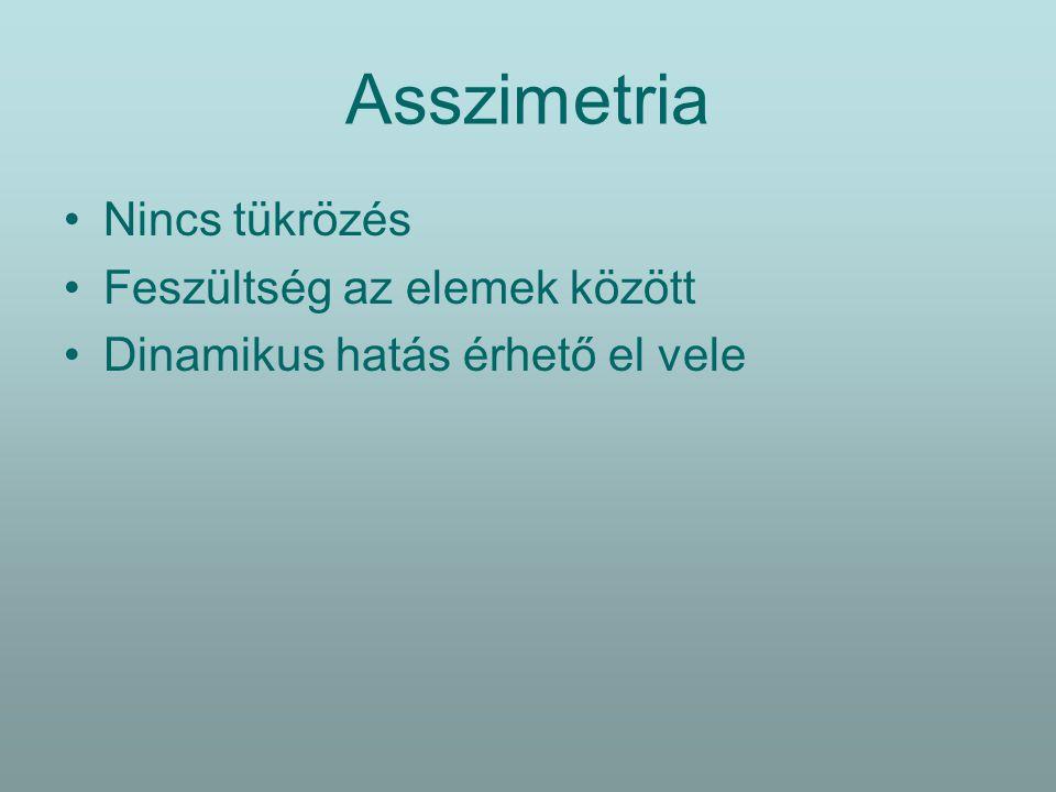 Asszimetria Nincs tükrözés Feszültség az elemek között