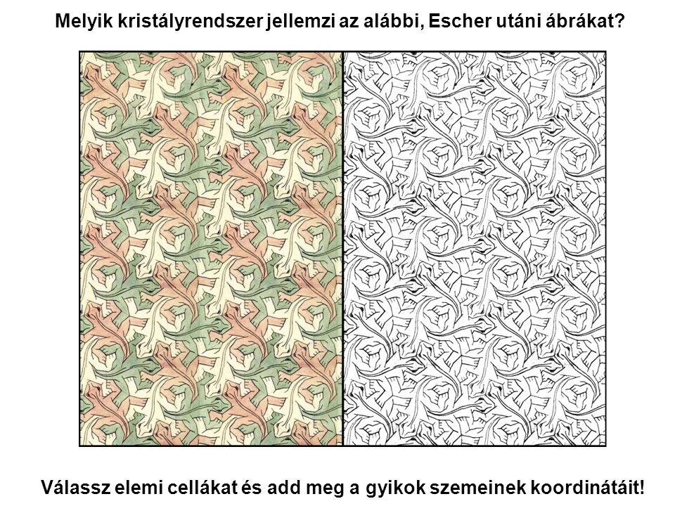 Melyik kristályrendszer jellemzi az alábbi, Escher utáni ábrákat
