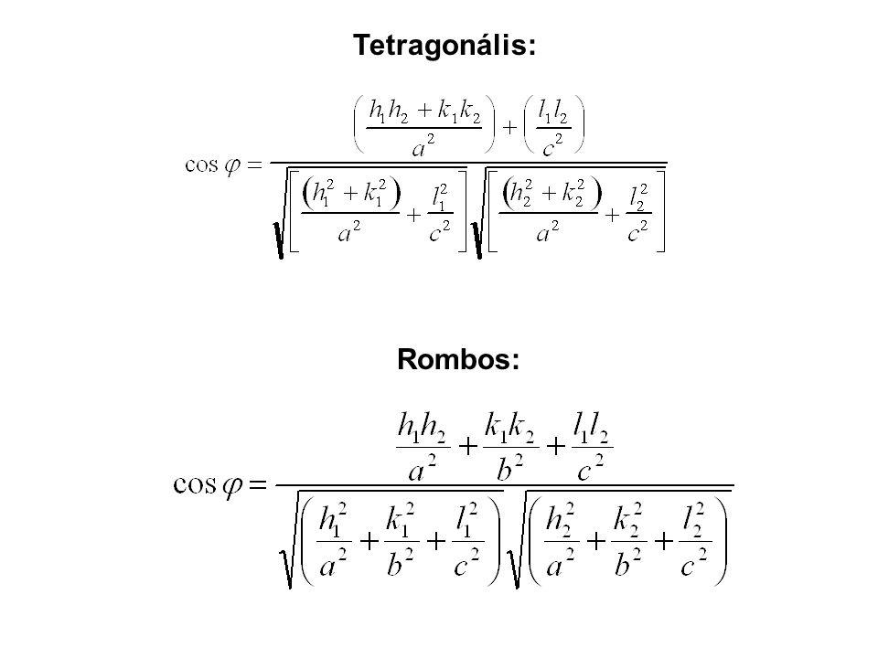 Tetragonális: Rombos: