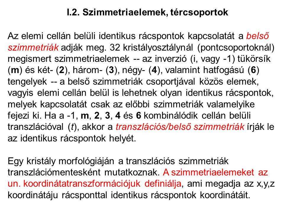 I.2. Szimmetriaelemek, tércsoportok