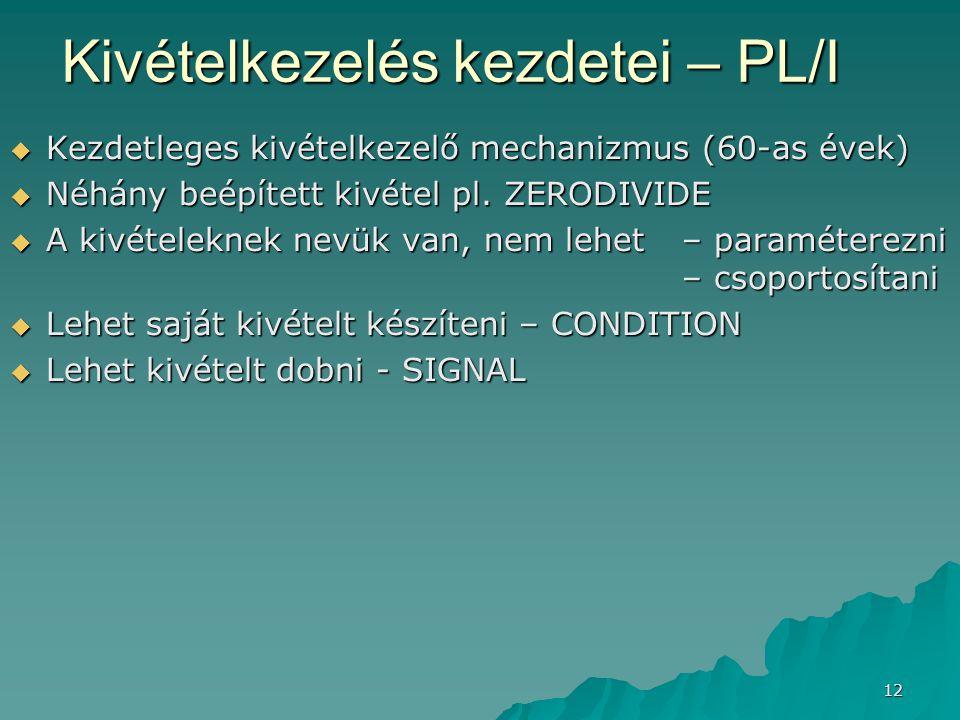 Kivételkezelés kezdetei – PL/I