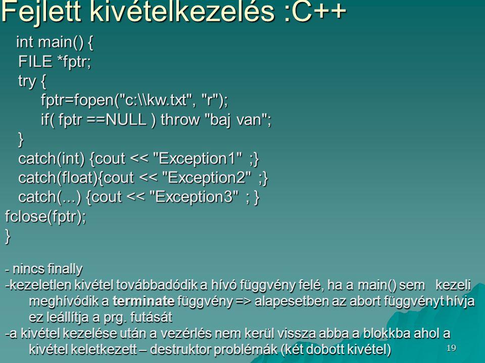 Fejlett kivételkezelés :C++