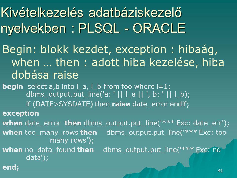 Kivételkezelés adatbáziskezelő nyelvekben : PLSQL - ORACLE