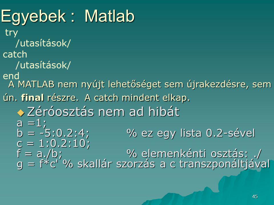 Egyebek : Matlab Zéróosztás nem ad hibát a =1;