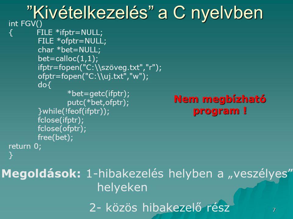 Kivételkezelés a C nyelvben