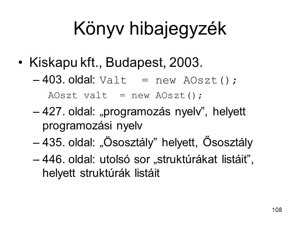 Könyv hibajegyzék Kiskapu kft., Budapest, 2003.