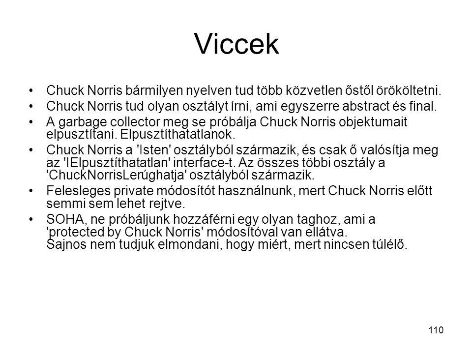 Viccek Chuck Norris bármilyen nyelven tud több közvetlen őstől örököltetni. Chuck Norris tud olyan osztályt írni, ami egyszerre abstract és final.