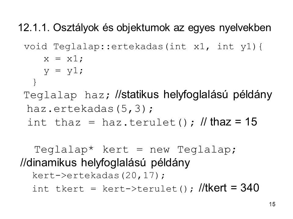 12.1.1. Osztályok és objektumok az egyes nyelvekben