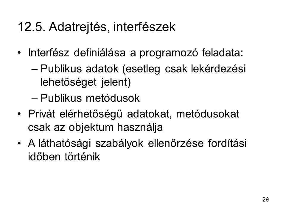 12.5. Adatrejtés, interfészek