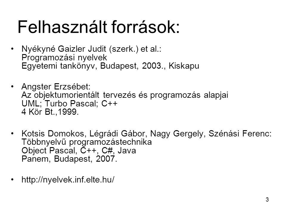 Felhasznált források: