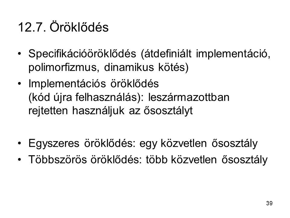 12.7. Öröklődés Specifikációöröklődés (átdefiniált implementáció, polimorfizmus, dinamikus kötés)