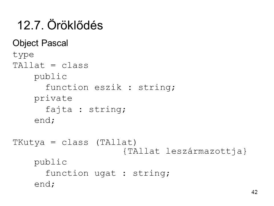 12.7. Öröklődés Object Pascal type TAllat = class public