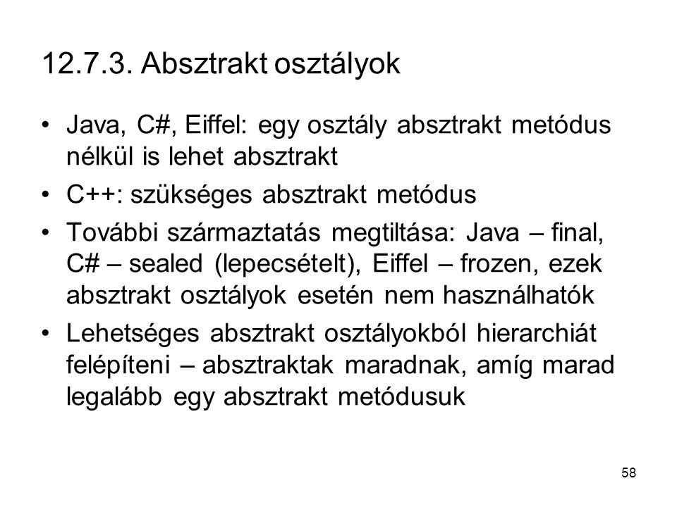12.7.3. Absztrakt osztályok Java, C#, Eiffel: egy osztály absztrakt metódus nélkül is lehet absztrakt.