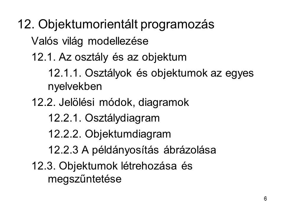 12. Objektumorientált programozás