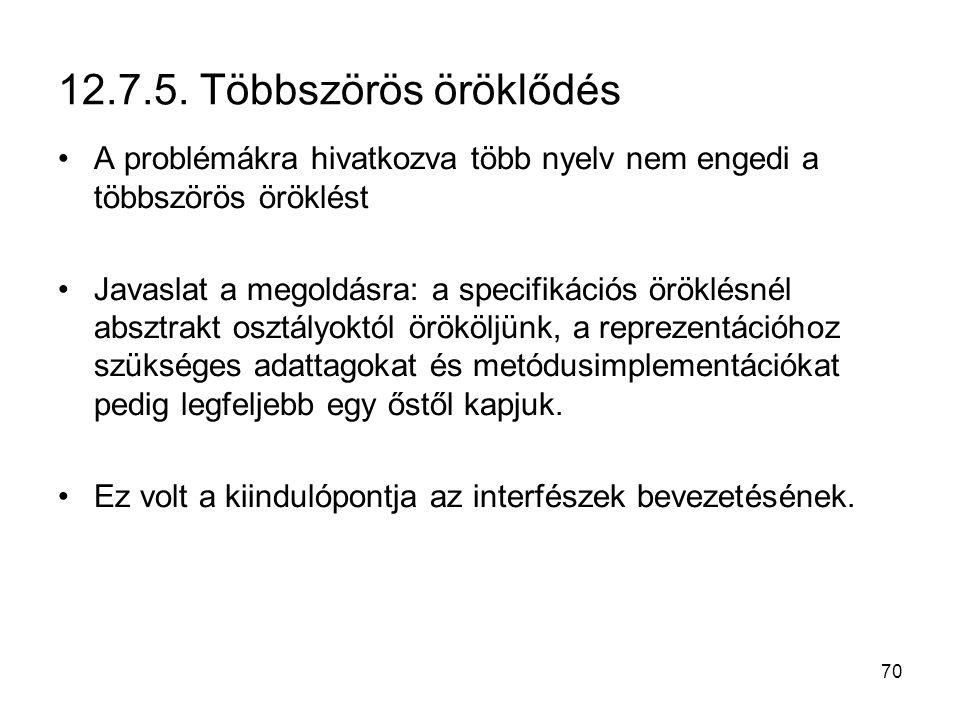 12.7.5. Többszörös öröklődés A problémákra hivatkozva több nyelv nem engedi a többszörös öröklést.