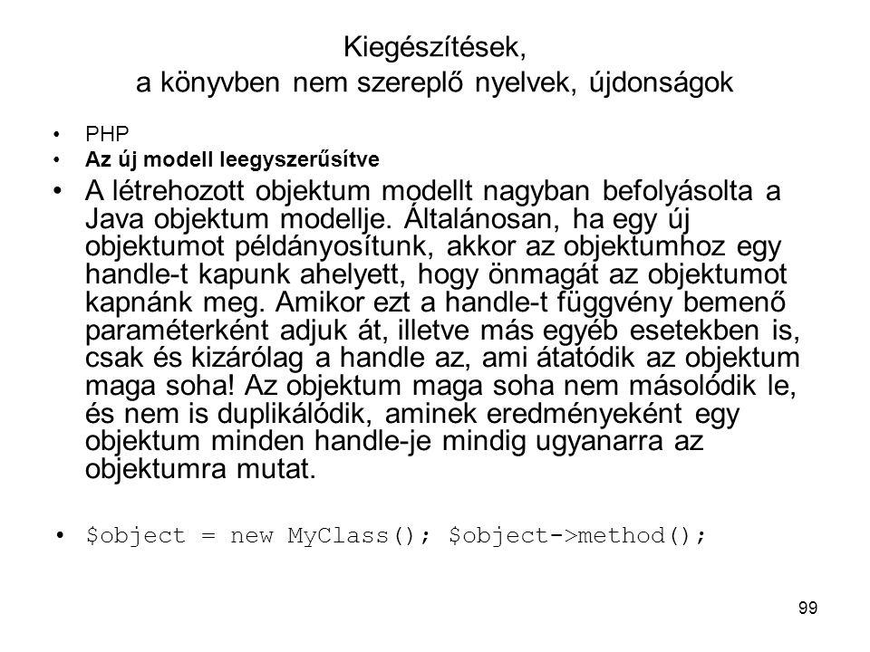 Kiegészítések, a könyvben nem szereplő nyelvek, újdonságok