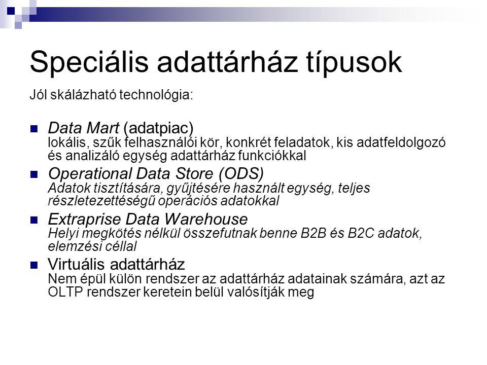 Speciális adattárház típusok