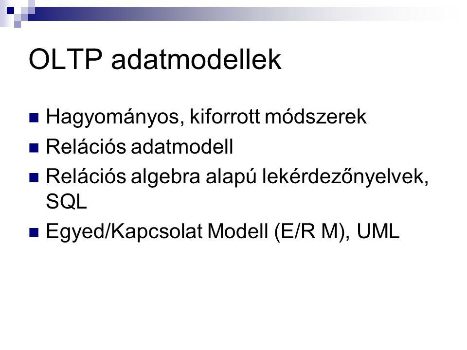 OLTP adatmodellek Hagyományos, kiforrott módszerek Relációs adatmodell