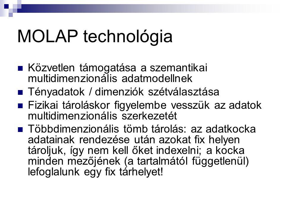 MOLAP technológia Közvetlen támogatása a szemantikai multidimenzionális adatmodellnek. Tényadatok / dimenziók szétválasztása.