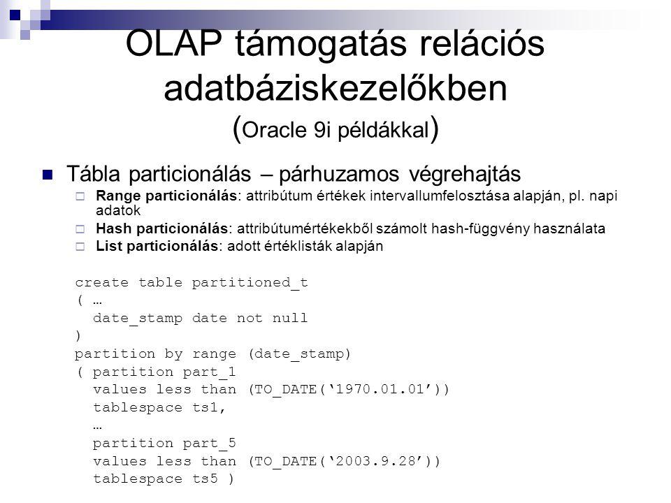 OLAP támogatás relációs adatbáziskezelőkben (Oracle 9i példákkal)