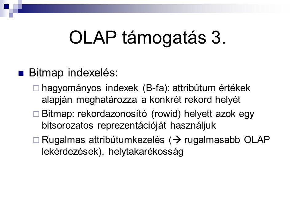 OLAP támogatás 3. Bitmap indexelés: