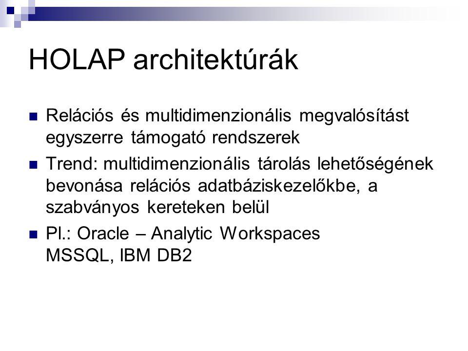 HOLAP architektúrák Relációs és multidimenzionális megvalósítást egyszerre támogató rendszerek.