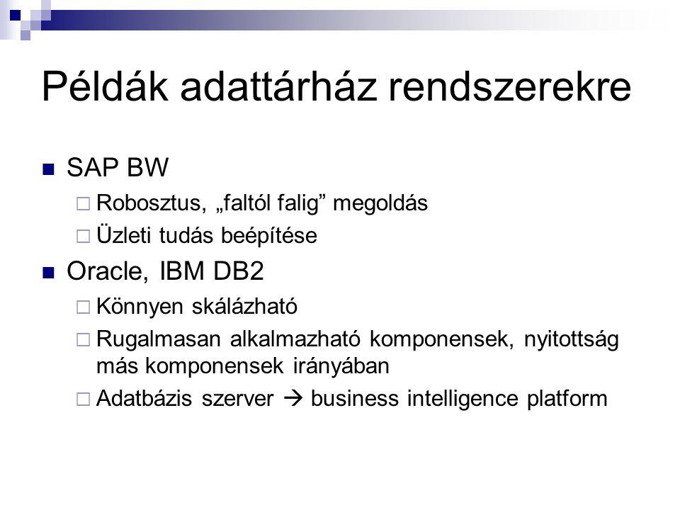 Példák adattárház rendszerekre