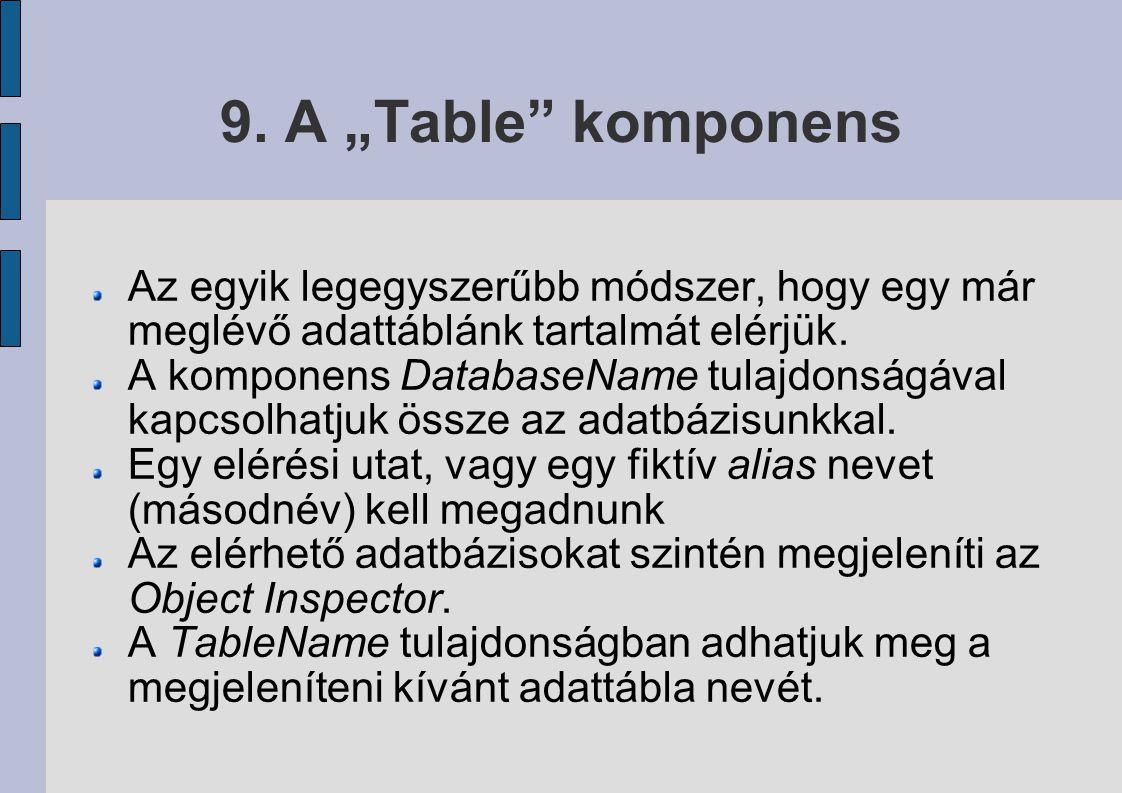 """9. A """"Table komponens Az egyik legegyszerűbb módszer, hogy egy már meglévő adattáblánk tartalmát elérjük."""