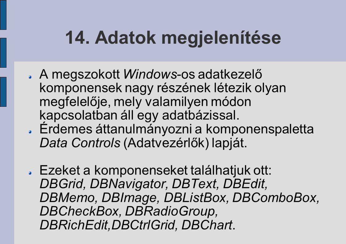 14. Adatok megjelenítése