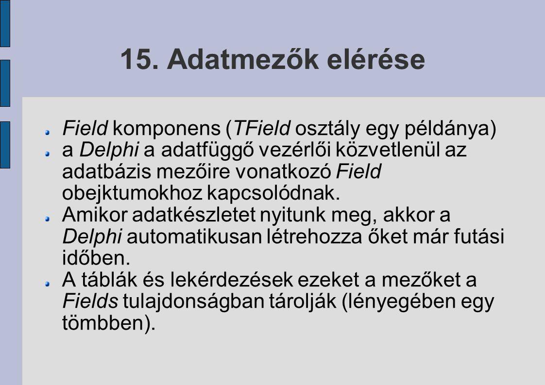 15. Adatmezők elérése Field komponens (TField osztály egy példánya)