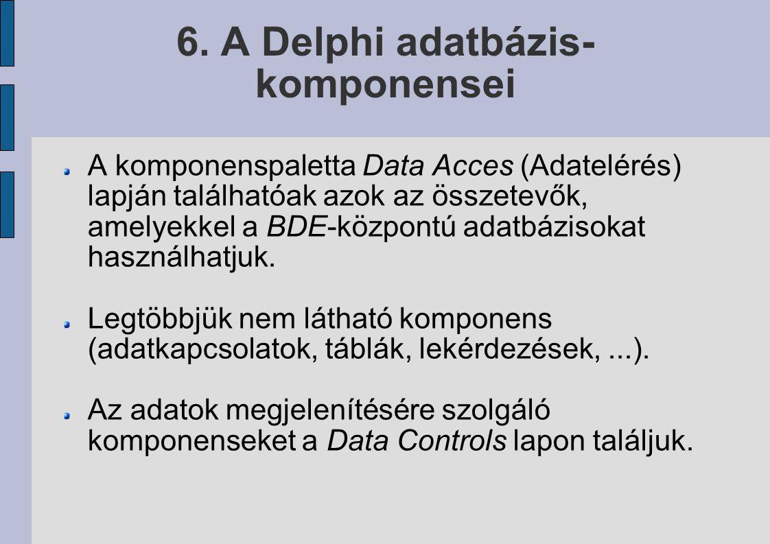 6. A Delphi adatbázis-komponensei