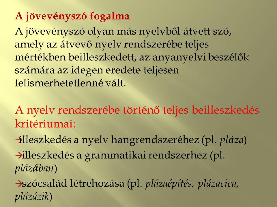 A nyelv rendszerébe történő teljes beilleszkedés kritériumai:
