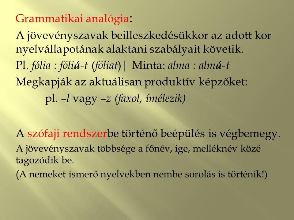 Grammatikai analógia: