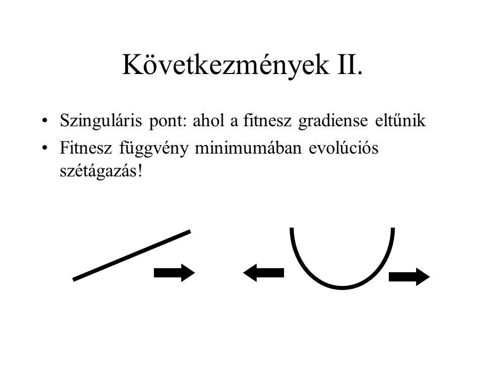 Következmények II. Szinguláris pont: ahol a fitnesz gradiense eltűnik