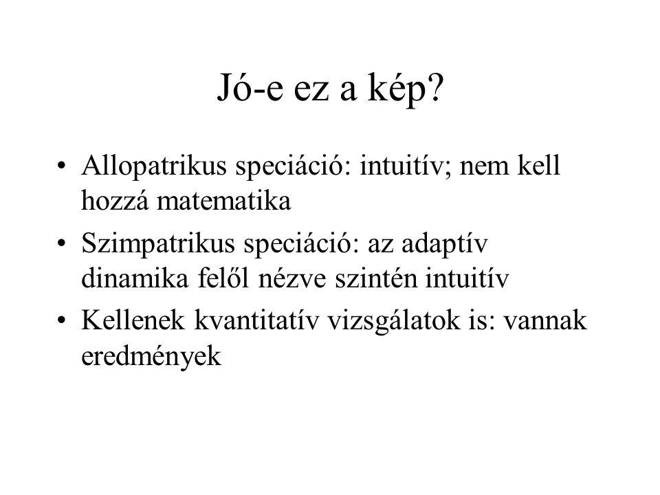 Jó-e ez a kép Allopatrikus speciáció: intuitív; nem kell hozzá matematika. Szimpatrikus speciáció: az adaptív dinamika felől nézve szintén intuitív.