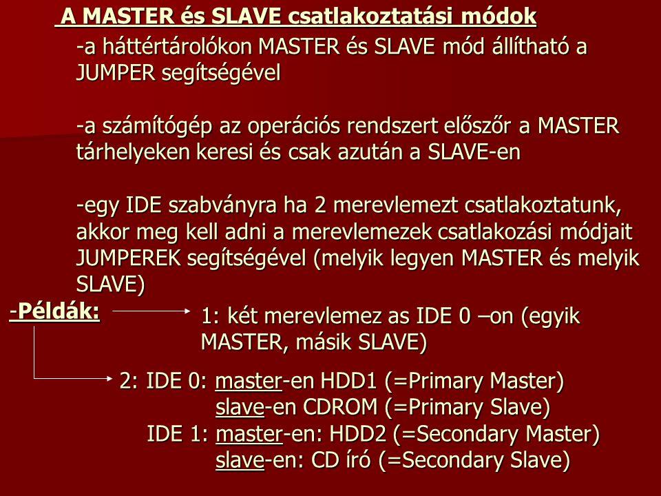 A MASTER és SLAVE csatlakoztatási módok
